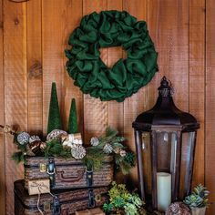 Green Burlap Wreath by VHC Brands