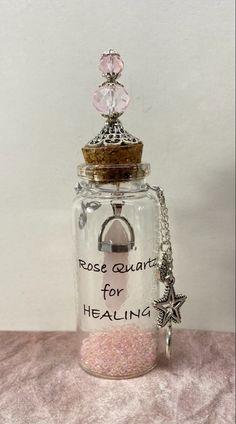 Custom bottles Custom Bottles, Apothecary Bottles, Customized Gifts, Rose Quartz, Miniatures, Healing, Personalized Gifts, Pink Quartz, Minis
