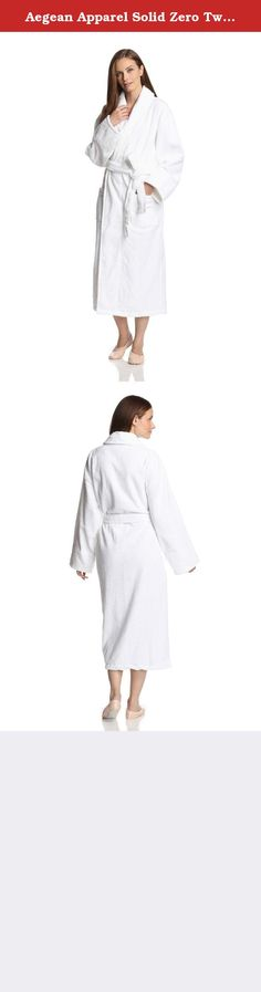 """Aegean Apparel Solid Zero Twist Terry Loop Hotel Spa Bathrobe, 100% Cotton, Long, White, S-XL, OSFM (Fits Missy Sizes 4-16). Simple yet elegant, this long zero twist terry loop white bathrobe by Aegean Apparel is perfect for chilly nights and long, relaxing mornings. Made from innovative 100% cotton Zero Twist terry loop fabric and includes features like two front patch pockets, a 48"""" or ankle length, a matching self wrap adjustable belt, a turn back shawl collar, and an unprecedented..."""
