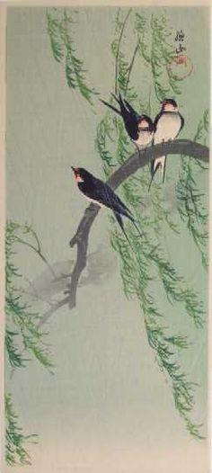 "ITO, Sozan (1884-??), ""Barn Swallows in Rain"""