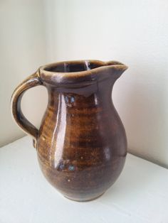 "Large Vintage Studio Art Ceramic Golden Brown Stoneware Pitcher or Vase Signed by the Artist ""FL"" by KittyBee9 on Etsy"