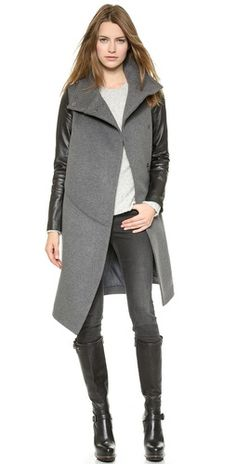 Grey Woolen Asymmetrical Hem Longline Coat With Contrast PU Sleeve