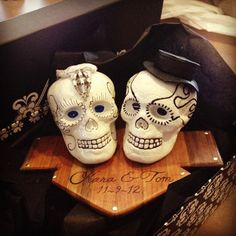 Personalized Bride and Groom Sweetheart Skull Wedding Cake Topper or Tabletop decoration. $50.00, via Etsy.