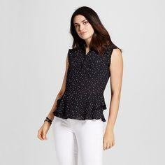 Women's Pattern Button Front Peplum Top Black Polka Dot XS - Mossimo