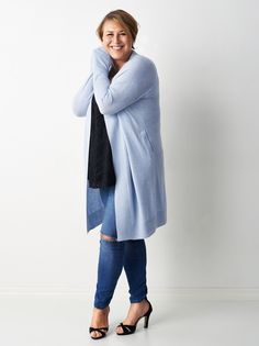 Hannah Widell in Soft Goat's Perfect Cardigan in light blue