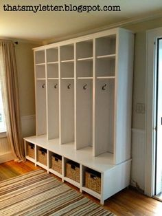 Multiple coat, boot and slipper cubbyholes....can be scaled up, or down....this would keep the cloakroom areas so much tidier!