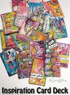 I have had a love of inspiration cards for many years. The first ones I ever saw where by SARK. They were so colorful and whimsical that I wanted to just sit and slowly go through each one. Soon after