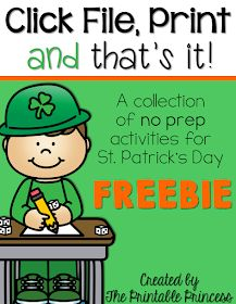 Tons of NO PREP ideas for March here. Plus you'll find a read aloud list for St. Patrick's day. Everything is Kindergarten appropriate. Ending sounds, blends and digraphs, CVC words, word families, addition, subtraction, number order, making ten, comparing numbers – and SO much more. Stop by and download some a free NO PREP packet!