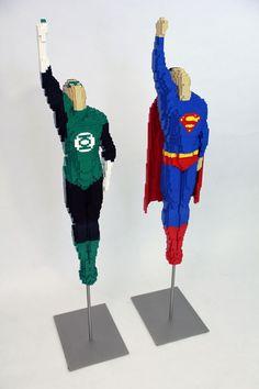 LEGO artist Nathan Swaya's Superman and Green Lantern sculptures by marci Lego Sculptures, Art Sculpture, Lego Design, Geeks, Lego Dc Comics, Construction Lego, Amazing Lego Creations, Lego Boards, Lego People
