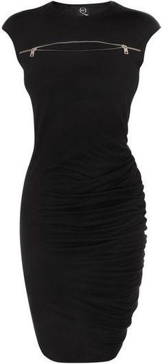 McQ by Alexander McQueen Jet Black Zip Sbend Dress - Lyst:
