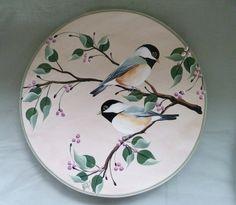 Lazy Susan hand painted with chickadee birds