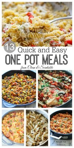 Lots of one pot meal ideas.  Quick and easy family dinners with only one pan to wash!