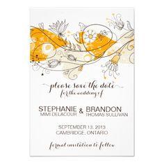 Orange Whimsical Flowers Save The Date Invitation