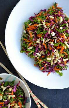 Garden vegetable slaw with kale, carrots, red cabbage and green onions with a soy sauce based dressing. #asianfood