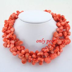 High Quanlity Orange Coral Necklace,Coral Necklace,Chunky Necklace,Bridesmaid Necklace,Birthday Gift,Wedding Gift,Statement Necklace on Etsy, $25.80