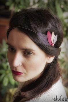 #headband feuilles violettes de Elufée sur DaWanda.com #boho #boheme #violet