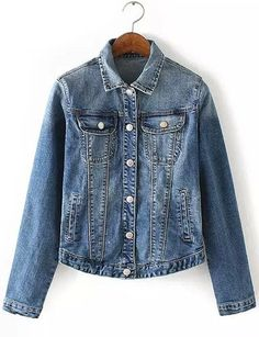 #fashion #accessories Retro Style Washed Denim Jacket with Turn Down Collar   Jean Blue by Moda Tendone - DenimJacket Clothes, DenimJacket, Fashionable, Jean Blue, Women