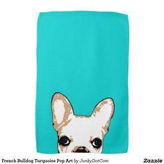 French Bulldog Turquoise Pop Art Towels Oct 7 2016 @zazzle #junkydotcom  2x