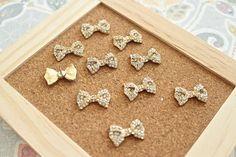 Gold Rhinestone Bow Thumbtack Bow Pushpins Cute by fluteofthehour