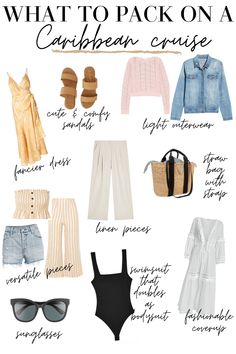 Use this guide for some tropical outfit inspiration as well as what to pack for a Caribbean cruise so you pack cute, versatile outfits! 30 Outfits, Vacation Outfits, Cruise Vacation, Resort Wear For Women, Tropical Outfit, Cruise Fashion, Cruise Wear, What To Pack, What To Wear