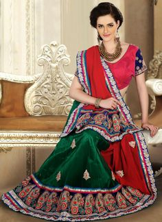 Green and Red Net With Viscose Georgette Lehenga Embroidered Saree - IG8209 USD $ 243.42