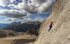 Pat climbing at the seldom frequented Pian dei Fiacconi on the north side of the Marmolada. © James Rushforth, Aug 2013