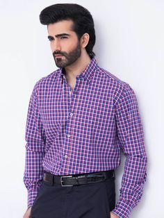 Blue & Red Gingham Check Shirt - Brumano Menswear