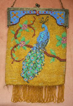 c.1920's Figural Peacock and Floral Design Beaded Purse In Need of TLC | eBay