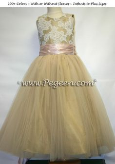 Spun gold and blush pink tulle junior bridesmaids dress by Pegeen