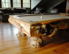 Amazing Log Pool Tables, if we ever got one it would look like this!