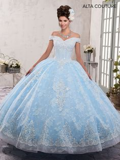 Alta Couture Quinceanera Tulle over lace quinceanera ball gowns features off shoulder sweet heart neck line, lace appliques, beaded corset bodice, basque waist line Xv Dresses, Quince Dresses, Couture Dresses, Ball Dresses, Chiffon Dresses, Pageant Dresses, Long Dresses, Fashion Dresses, Formal Dresses