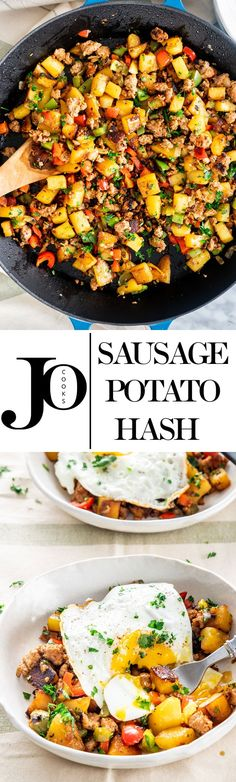 Perfect for breakfast or brunch this Sausage Potato Hash served with fried eggs is a hearty comforting delicious meal and super easy to make. via Jo Cooks Breakfast Dishes, Breakfast Time, Breakfast Recipes, Dinner Recipes, Breakfast Ideas, Breakfast Sandwiches, Sausage Recipes, Cooking Recipes, Healthy Recipes