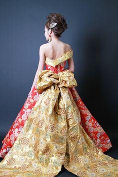 和ドレス・ウエディングドレスのドレスオーダー・レンタルドレスはアリアンサ 和ドレス・朱鞠 Modern kimono inspired wedding dress by Aliansa Japanese designer