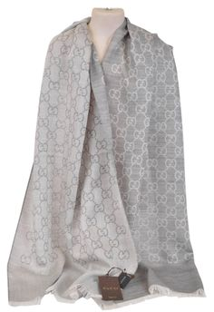 New Gucci 165904 Light Silver Grey Silk Wool GG Guccissima Scarf. Free shipping and guaranteed authenticity on New Gucci 165904 Light Silver Grey Silk Wool GG Guccissima ScarfNew with Tags  Lightweight Silk & Wool Blend in a ...