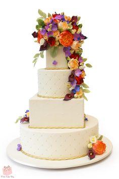 Cascading Floral Wedding Cake » Spring Wedding Cakes