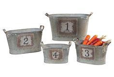 Metal Buckets w/ Numbers, Asst. of 4 on OneKingsLane.com