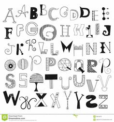 Hand Drawn Alphabet Letters From A To Z. Set Of Doodle Letters For Design Stock Vector - Image: 50813972 Graffiti Lettering Fonts, Hand Lettering Alphabet, Doodle Lettering, Alphabet Design, Creative Lettering, Lettering Styles, Lettering Design, Alphabet Letters, Bubble Letters
