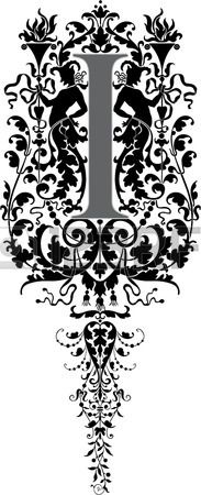 Fantasy style, English alphabet, letter I, Grayscale photo