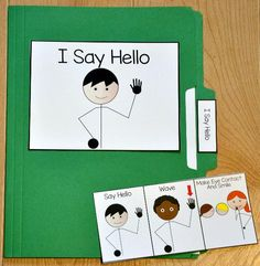 I Say Hello Folder Story - This folder story is a social story or social narrative that targets appropriately greeting people. Use this folder story with students who have difficulty with this behavior. Autism Activities, Autism Resources, Speech Therapy Activities, Language Activities, Sequencing Activities, Educational Activities, File Folder Activities, File Folder Games, Behavior Cards