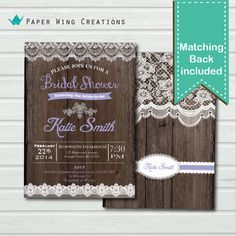 Shabby Chic Rustic Bridal Shower Invitation. Lavender Wood and Lace bridal shower, bridal tea shower lucheon invite. digital printable BW06 on Etsy, $15.00