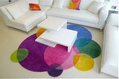 Gradient Rainbow Modern Handmade carpets Living room Bedroom Fashion creative…