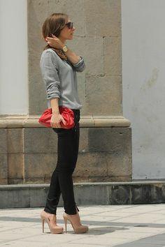 Penny Black Blouse, Furla Clutch, Guess? Jeans, Christian Louboutin Pumps