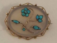 VICTORIAN 9CT GOLD TURQUOISE CHALCEDONY BROOCH