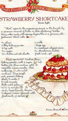 Old Recipes, Vintage Recipes, Cake Recipes, Dessert Recipes, Cooking Recipes, Shortcake Recipe, Recipe Scrapbook, Food Journal, Special Recipes
