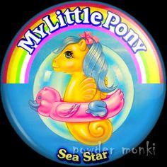 "Retro Toy Badge/Magnet - My Little Pony Y3 Sea ""Sea Star"" www.powdermonki.co.uk"