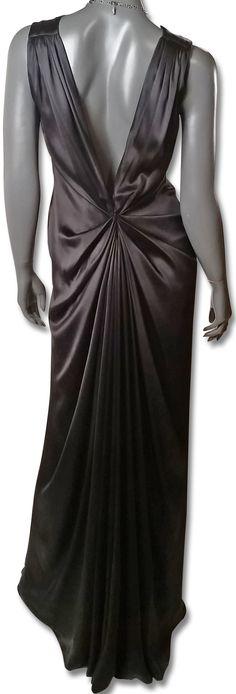 Oscar de la Renta 1990s Black Silk Satin Gown with Back Detail