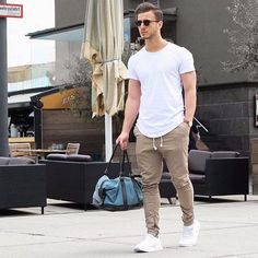 Smart White tshirt with jogger pants
