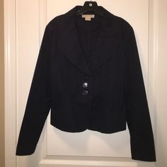 "Michael Kors Navy Blazer Michael Kors Navy Blazer 3 button front with 2 pockets and bottom back. Under arm to under arm measures 20"" length 23"" shoulders 17"" in EUC no holes or stains. Michael Kors Jackets & Coats Blazers"