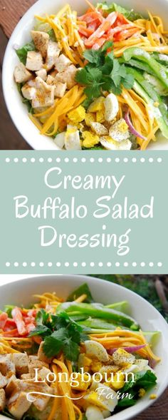 Easy, creamy, spicy buffalo salad dressing. Great on any type of salad, particularly good on a Cobb Salad with chicken. This dressing hits the spot!