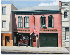 """""""Market St. Firehouse,"""" 2013 14 x 16 inch oil on canvas Scenes of Morristown NJ by artist Donald Felber"""